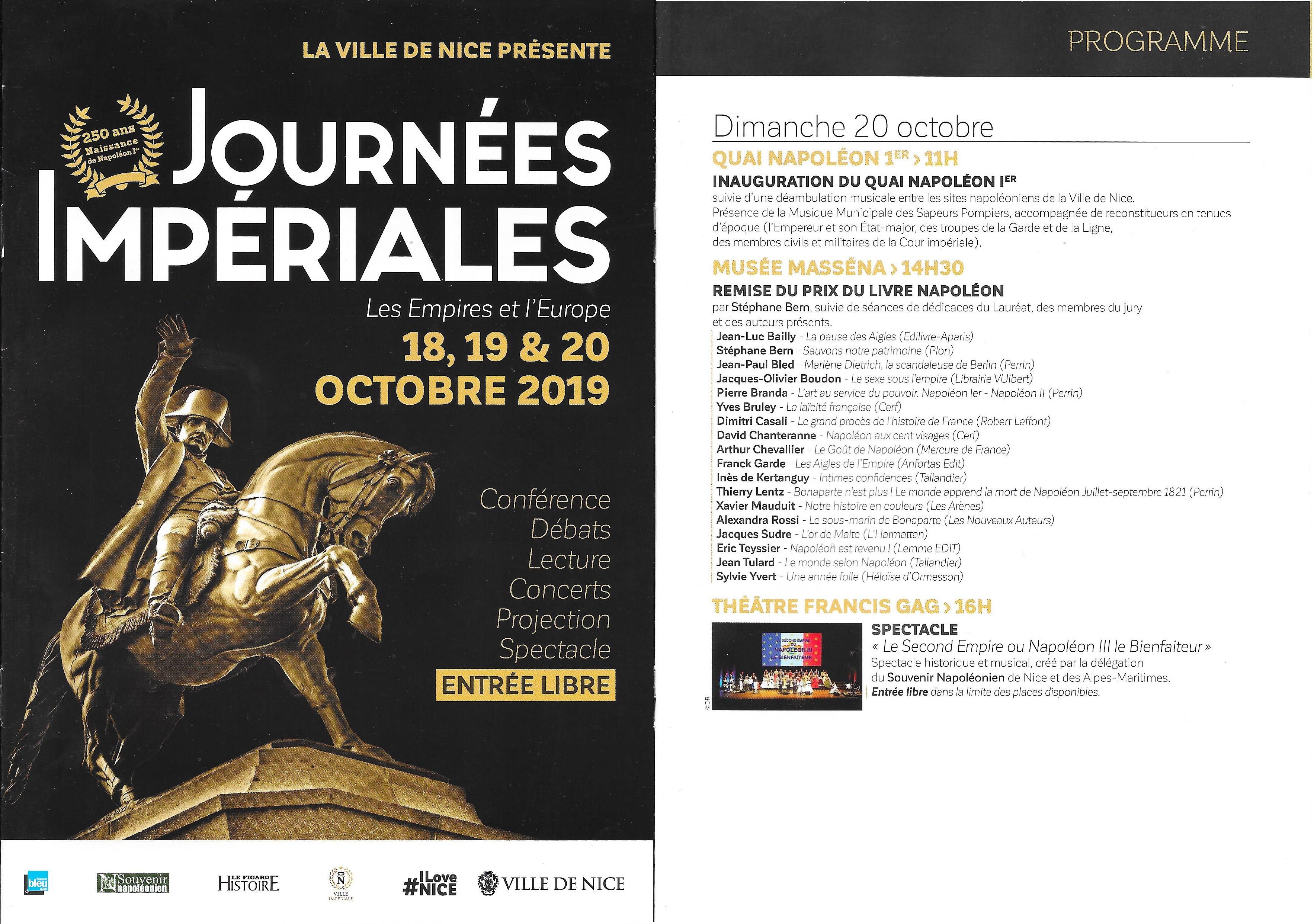 Flyer Journées Impériales 18-20 octobre 2019