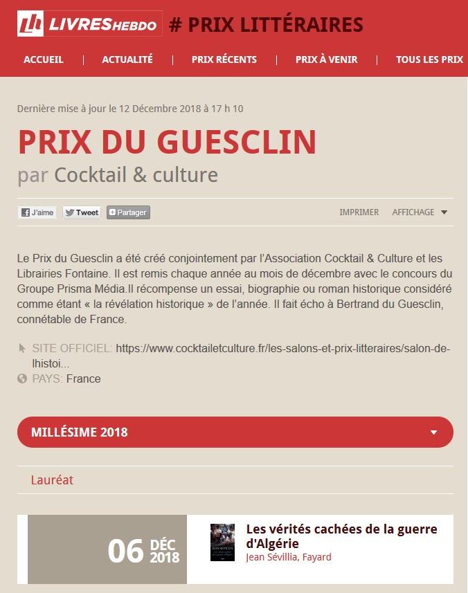 Livres Hebdo Résultats Prix du Guesclin 2018