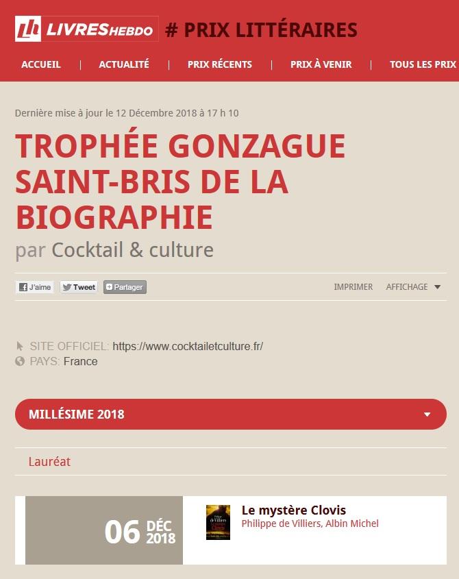 Livres Hebdo Résultats Trophée de la Biographie Gonzague Saint-Bris 2018