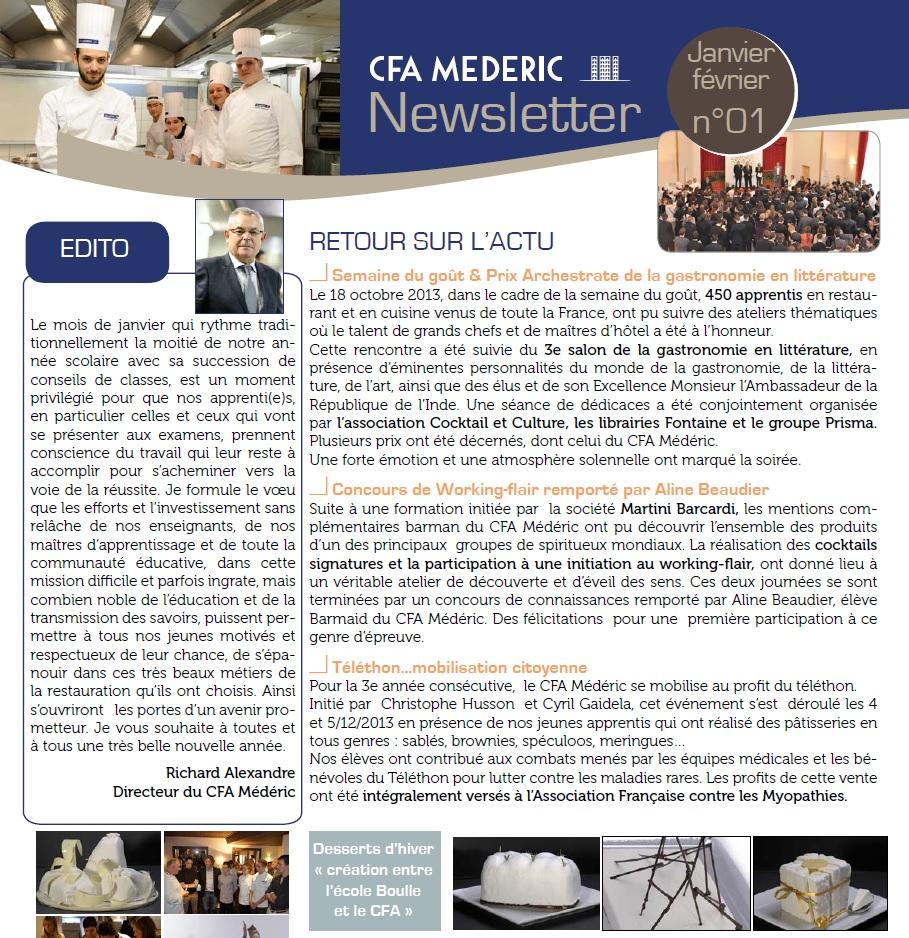 Newsletter CFA Médéric Janvier 2014