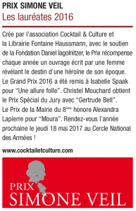 Rubrique Figaro Prix Simone Veil 2016 22.07.16