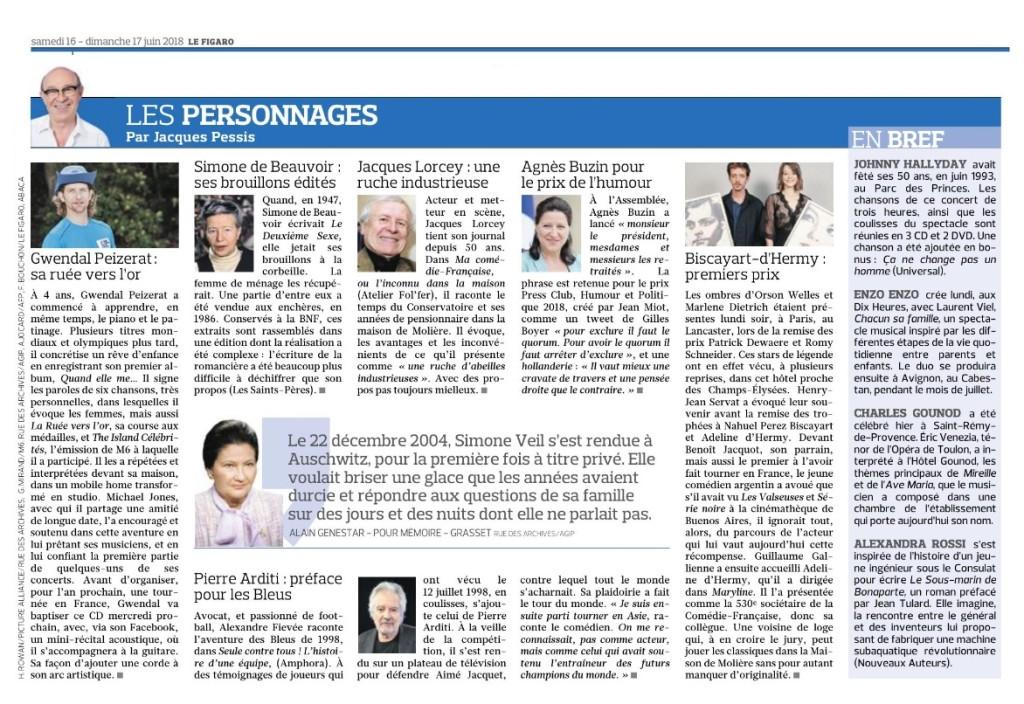 Article Figaro Le Sous-Marin de Bonaparte 16-17 juin 2018