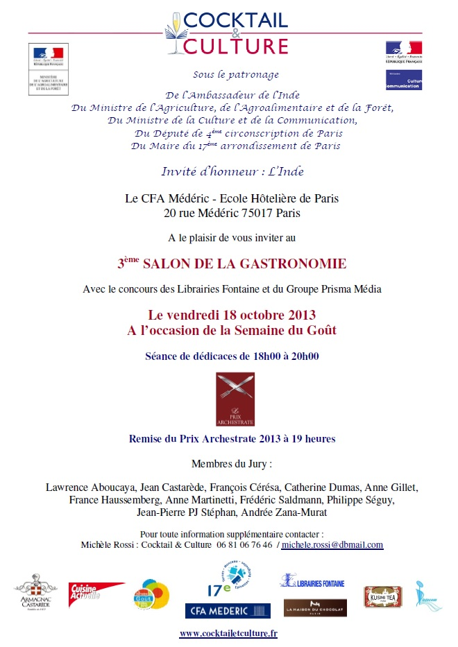 3 me salon de la gastronomie le 18 octobre 2013 au cfa m d ric cocktail et culture - Le salon de la gastronomie ...