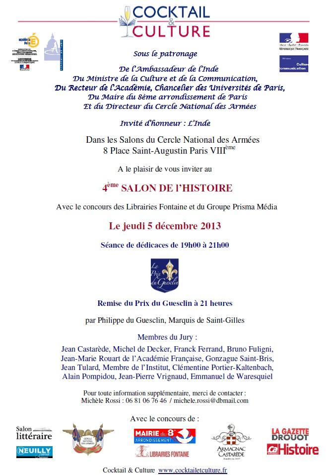 Invitation Salon de l'Histoire 2013