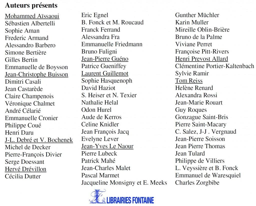 Liste des auteurs présents Salon de l'Histoire 2013 3