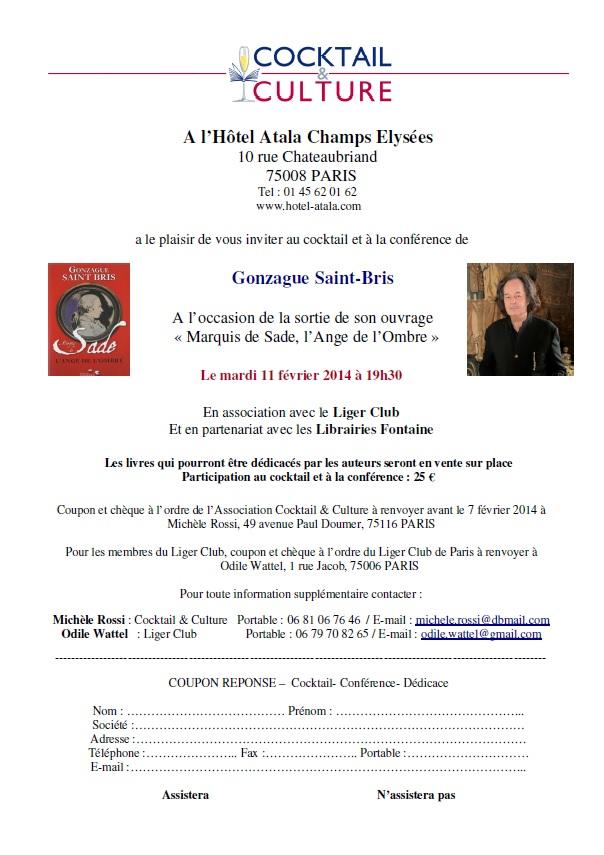Invitation Cocktail & culture Gonzague Sade
