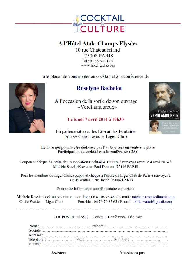 Invitation Cocktail & Culture Roselyne Bachelot
