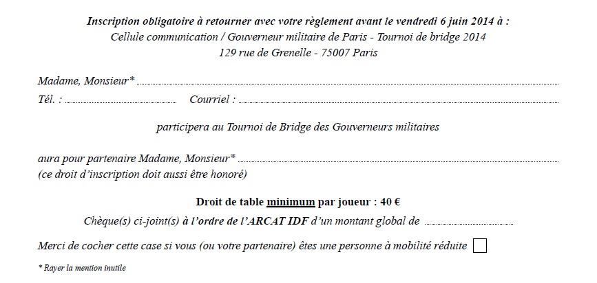 Carton d'invitation bridge 2014 Paris