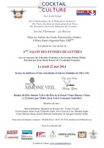 Invitation 6ème Salon des Femmes de Lettres
