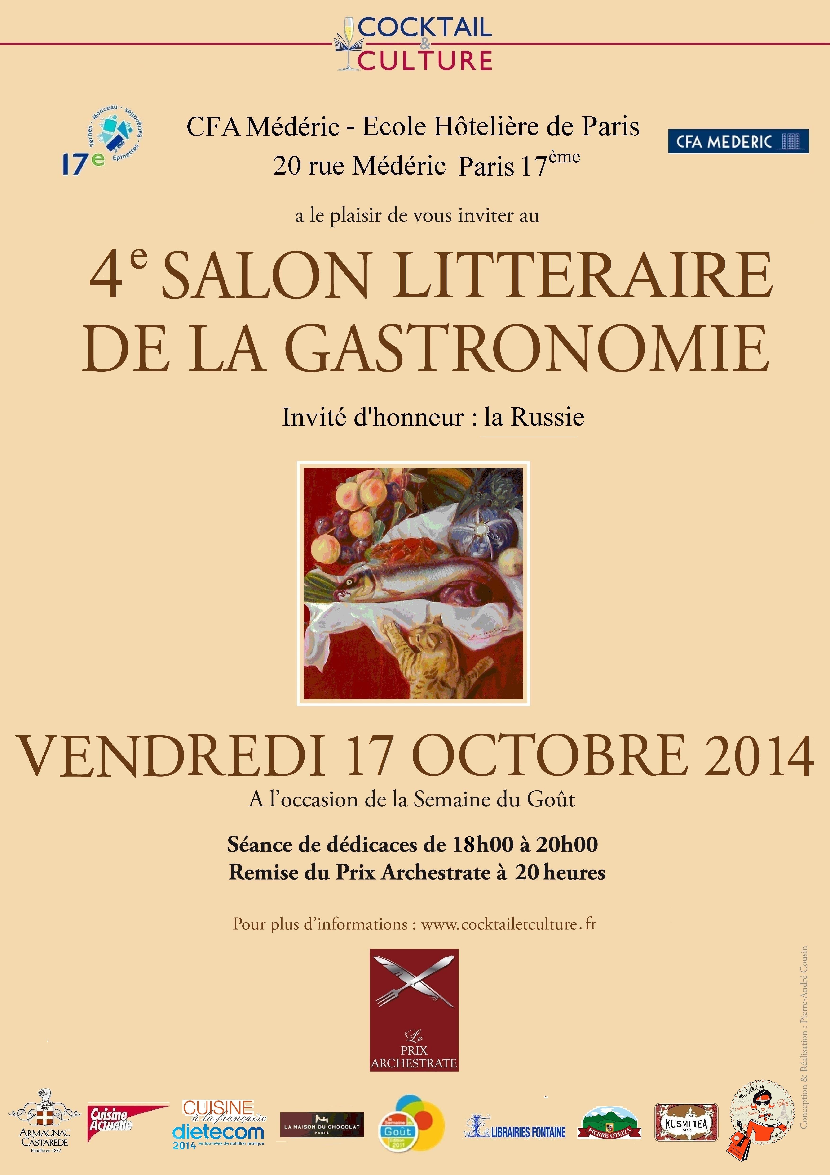 Salon litt raire de la gastronomie le 17 octobre 2014 au cfa m d ricde 18h 21h 4 me dition - Le salon de la gastronomie ...