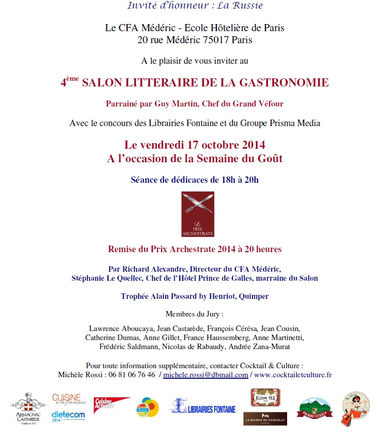 Invitation Salon Litteraire de la Gastronomie