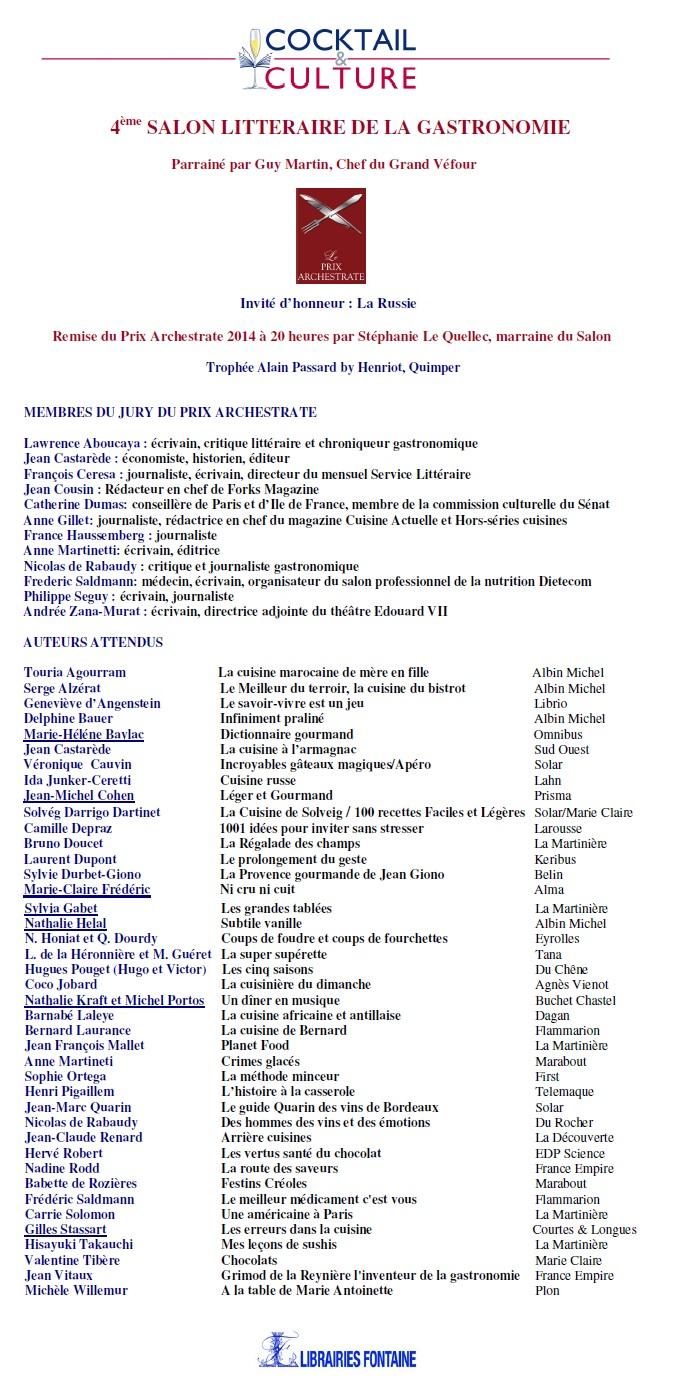 Liste des auteurs Gastronomie 2014
