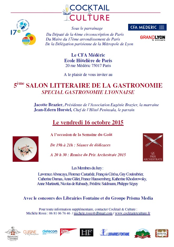 Invitation 5eme Salon Litteraire de la Gastronomie