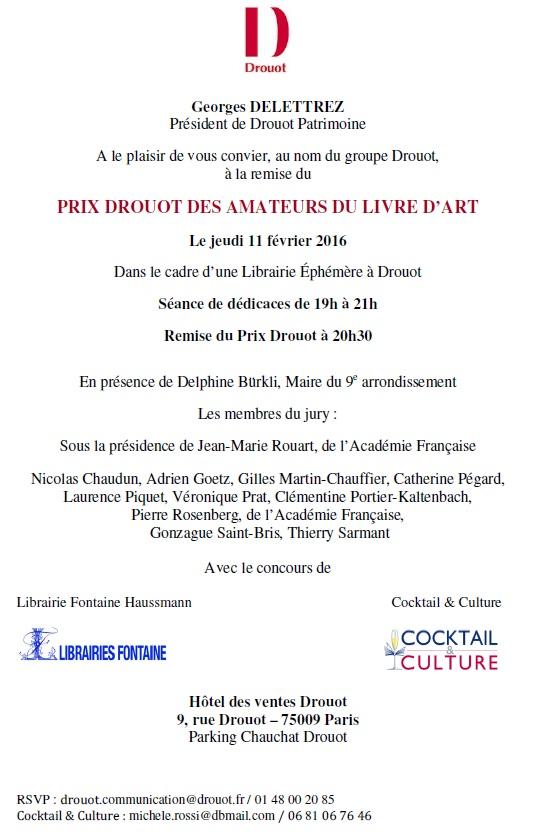 Invitation Prix Drouot 11 février 2016