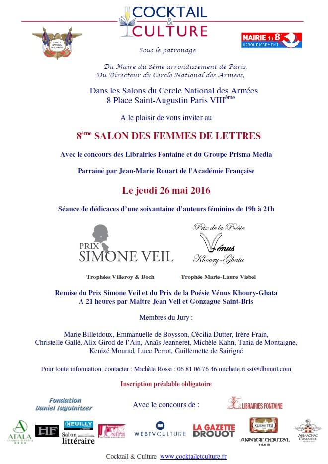 Invitation 8ème Salon des Femmes de Lettres