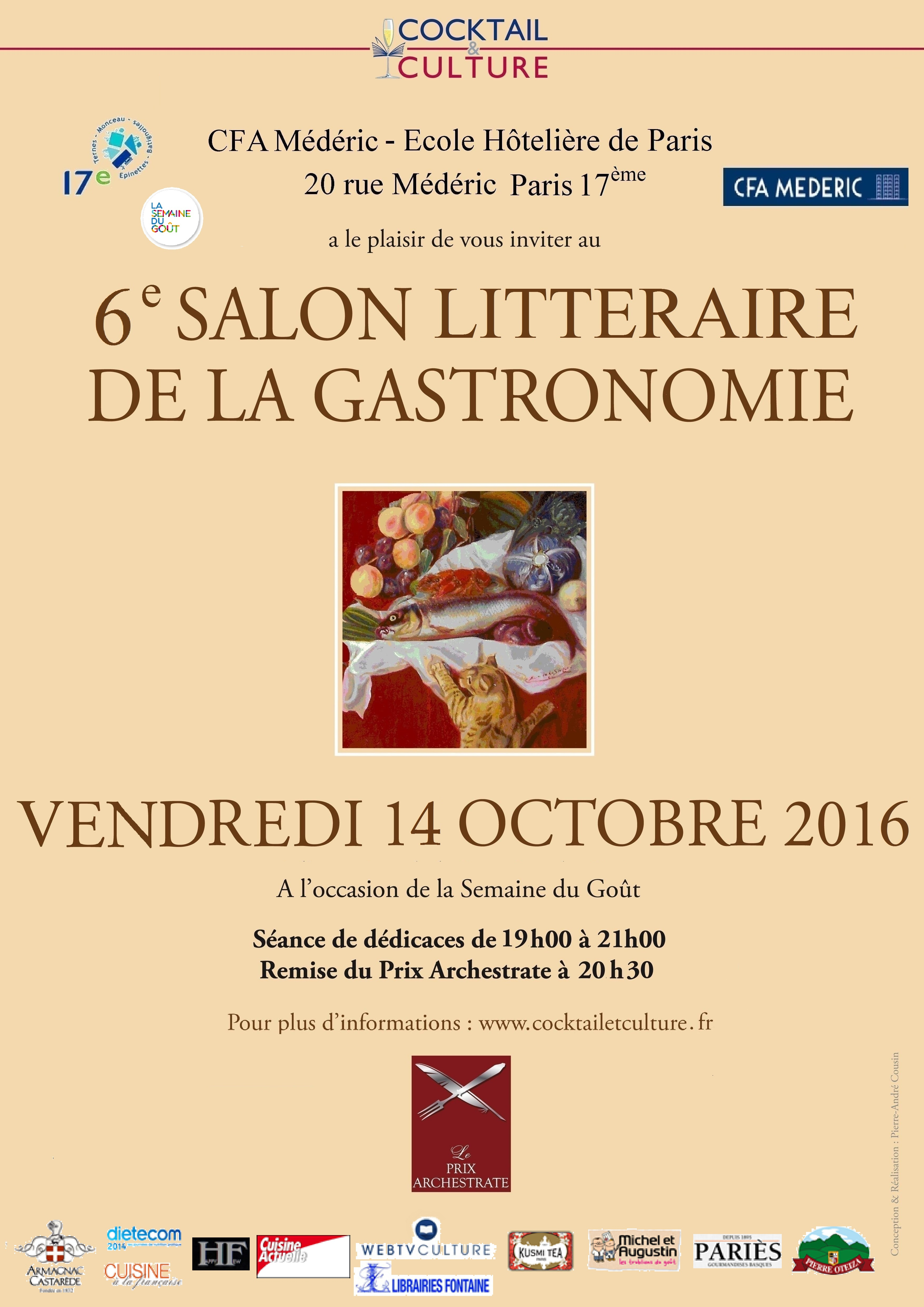 6 me salon litt raire de la gastronomie le vendredi 14 octobre de 19h 21h au cfa m d ric. Black Bedroom Furniture Sets. Home Design Ideas