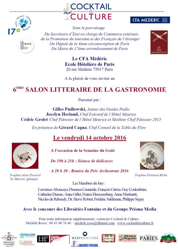Invitation 6ème Salon Littéraire de la Gastronomie