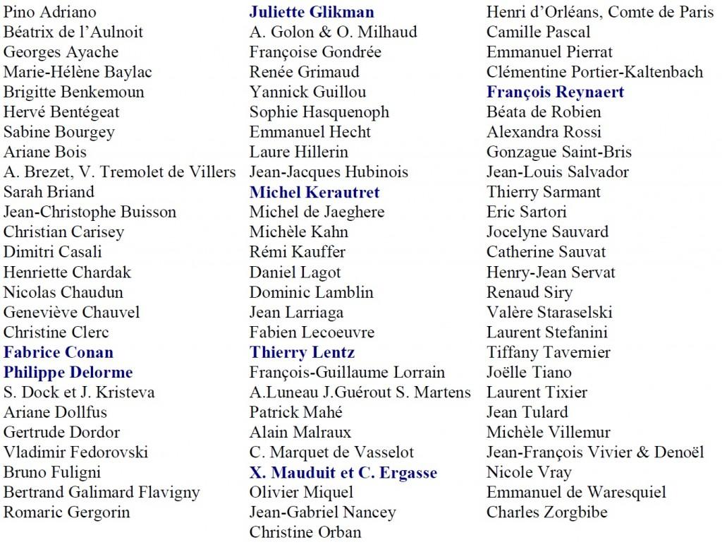 Liste auteurs 7ème Salon de l'Histoire