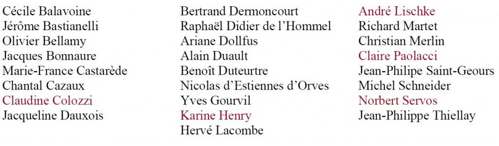 Liste des auteurs Librairie Ephémère Théâtre des Champs-Elysées 2017 présents