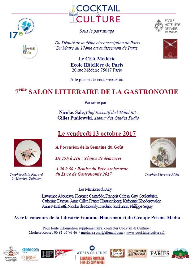 Invitation 7ème Salon Littéraire de la Gastronomie