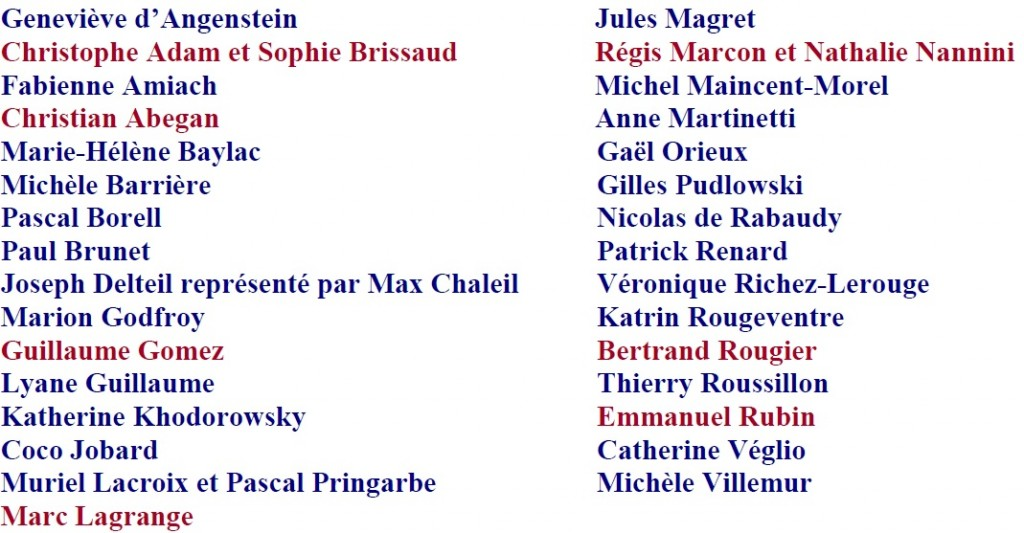 Liste des Auteurs Gastronomie 2017
