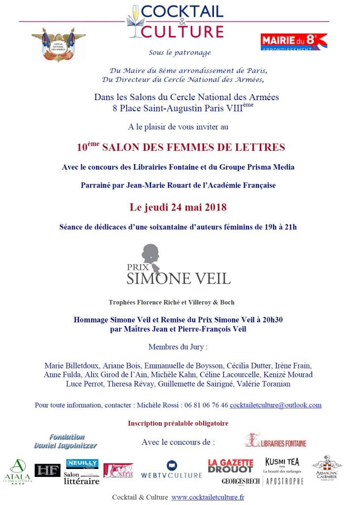 Invitation 10ème Salon des Femmes de Lettres