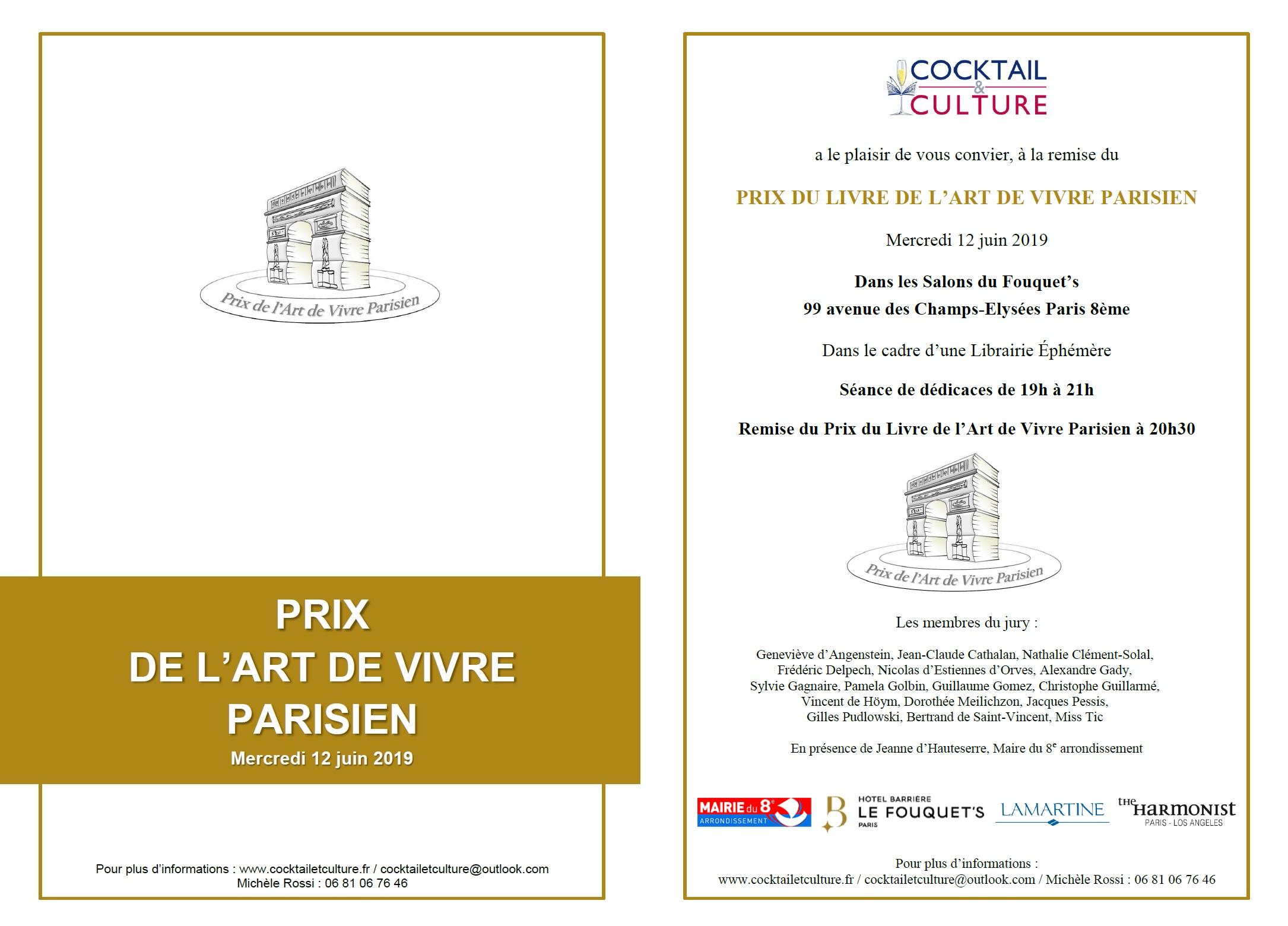 Invitation Fouquet's Art de Vivre Parisien 12 juin 2019