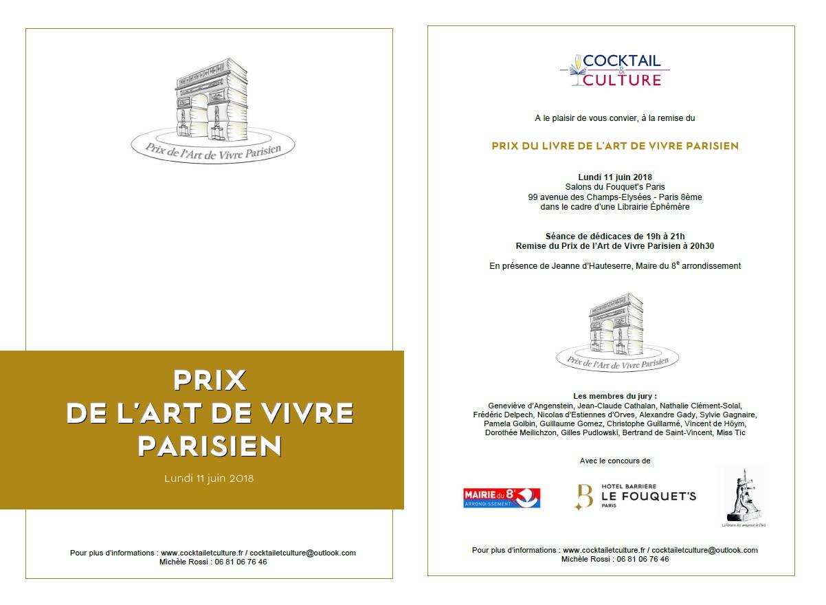 Invitation Prix de l'Art de Vivre Parisien 11 juin 2018
