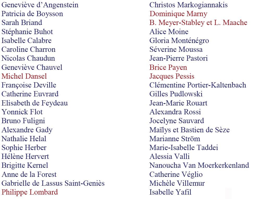 Liste auteurs présents