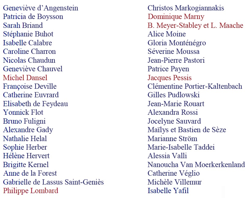 Liste des auteurs présents
