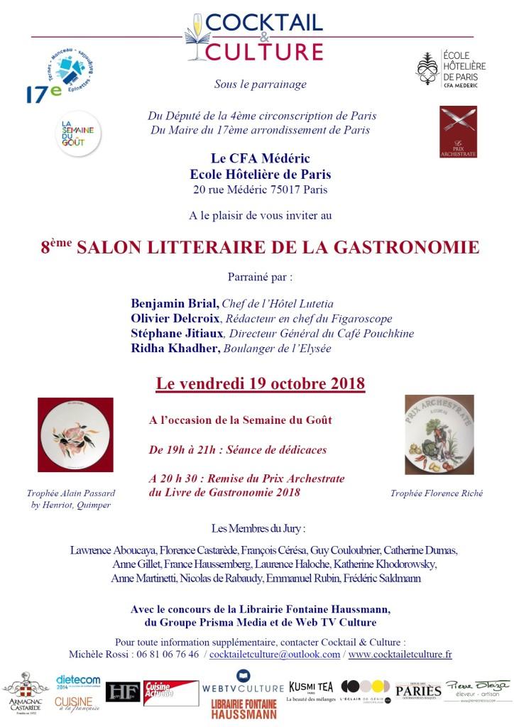 Invitation 8ème Salon Littéraire de la Gastronomie