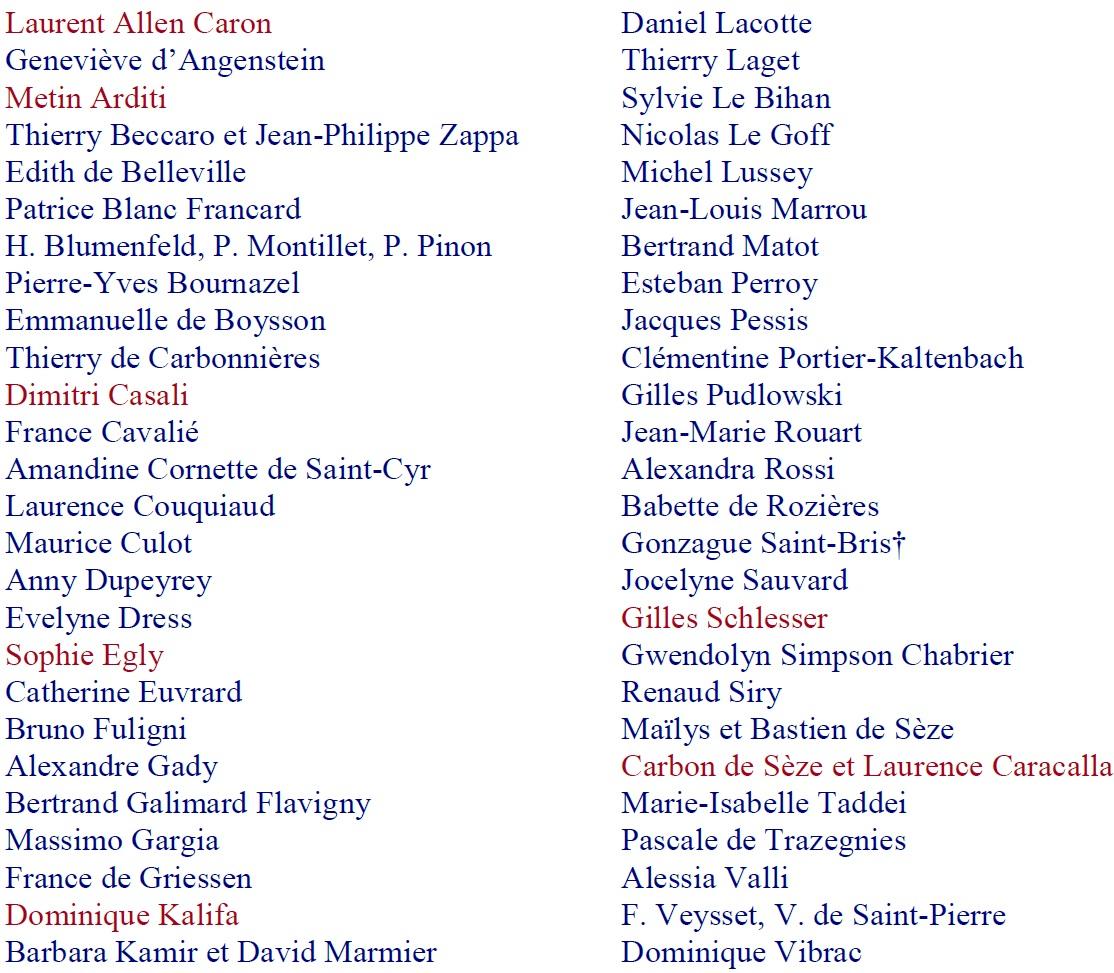Liste des auteurs présents 2019