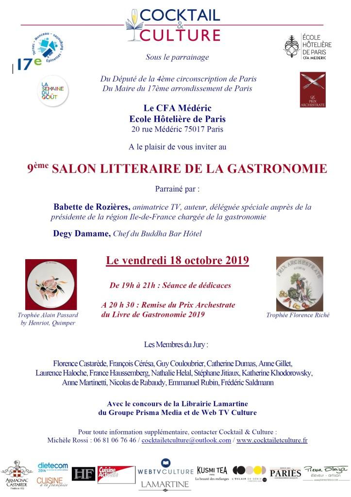 Invitation 9ème Salon Littéraire de la Gastronomie