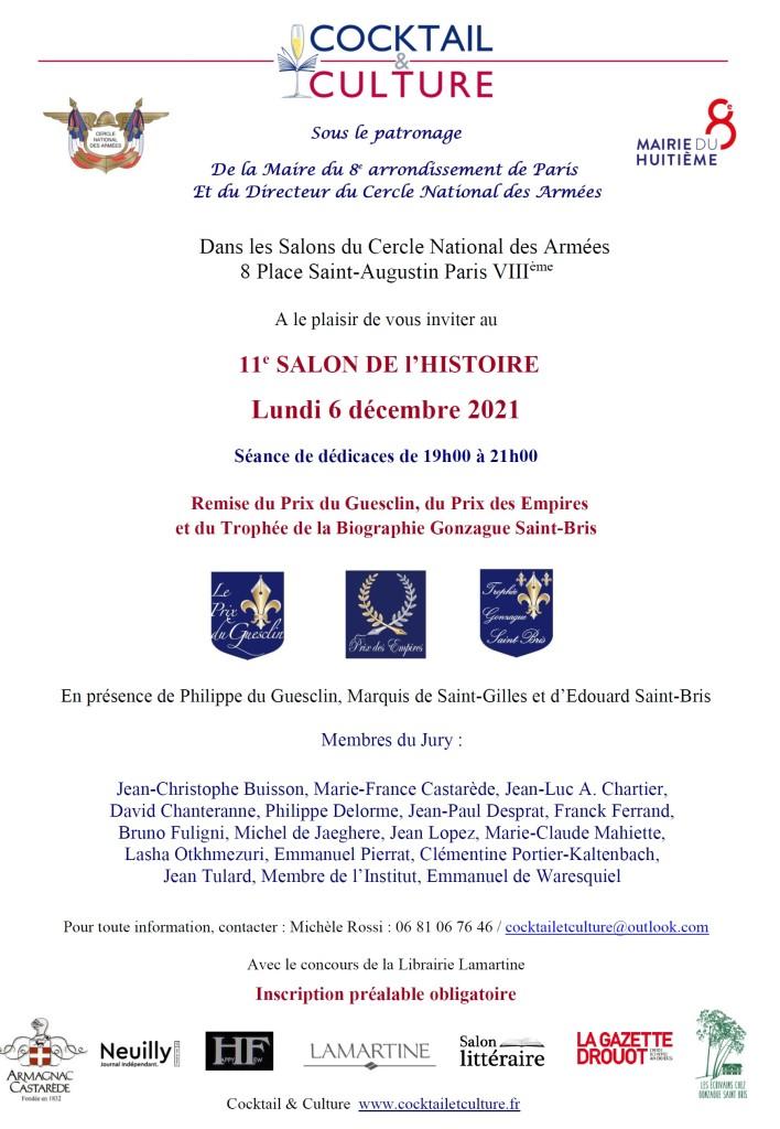 Invitation 11e Salon de l'Histoire 6 décembre 2021